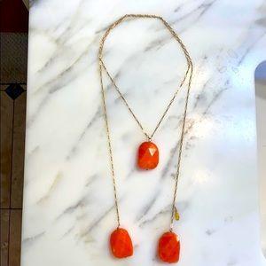 NWT Sogoli lariat style orange jade 3 stone chain